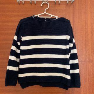 (深藍色) 🇬🇧Atmosphere 厚針織條紋上衣(秋冬款)