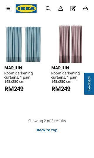 IKEA Premium Room Darken THICK Black-out curtain 2pc MARJUN