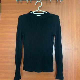 黑色螺紋長袖上衣(秋冬款)