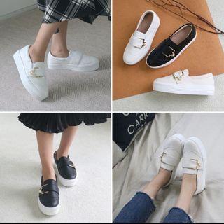 正韓珍珠皮釦顯瘦厚底休閒鞋