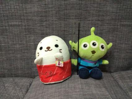海豹壽司 三眼怪  抱枕 一隻80兩隻150元 靠墊 午安枕 絨毛娃娃 玩具 玩偶