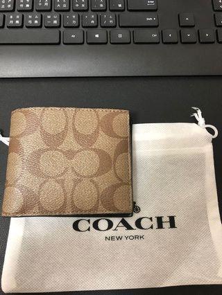 Coach#皮夾#配件#短夾#棕色