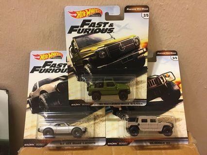 Hot Wheels Fast & Furious Wave 4 Lot of 3 - Mercedes Benz G-Class, '67 Camaro Offroad, Hummer H1