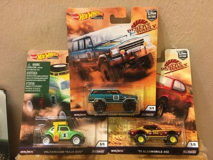 Hot Wheels Desert Rally Lot of 3 - '88 Jeep Grand Wagoneer, Volkswagen Baja Bug, '70 Oldsmobile 441