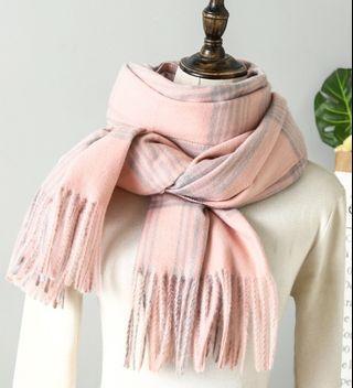 圍巾 加厚羊絨圍巾350克 超柔軟羊絨圍巾 格子圍巾 厚實保暖 有質感 披肩