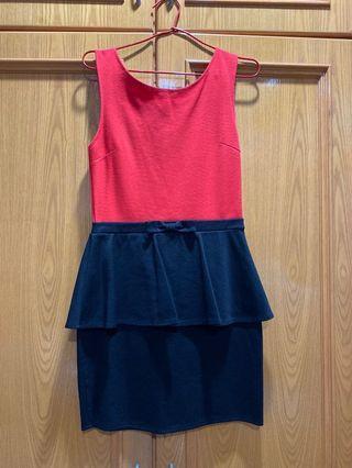 Red and black peplum dress