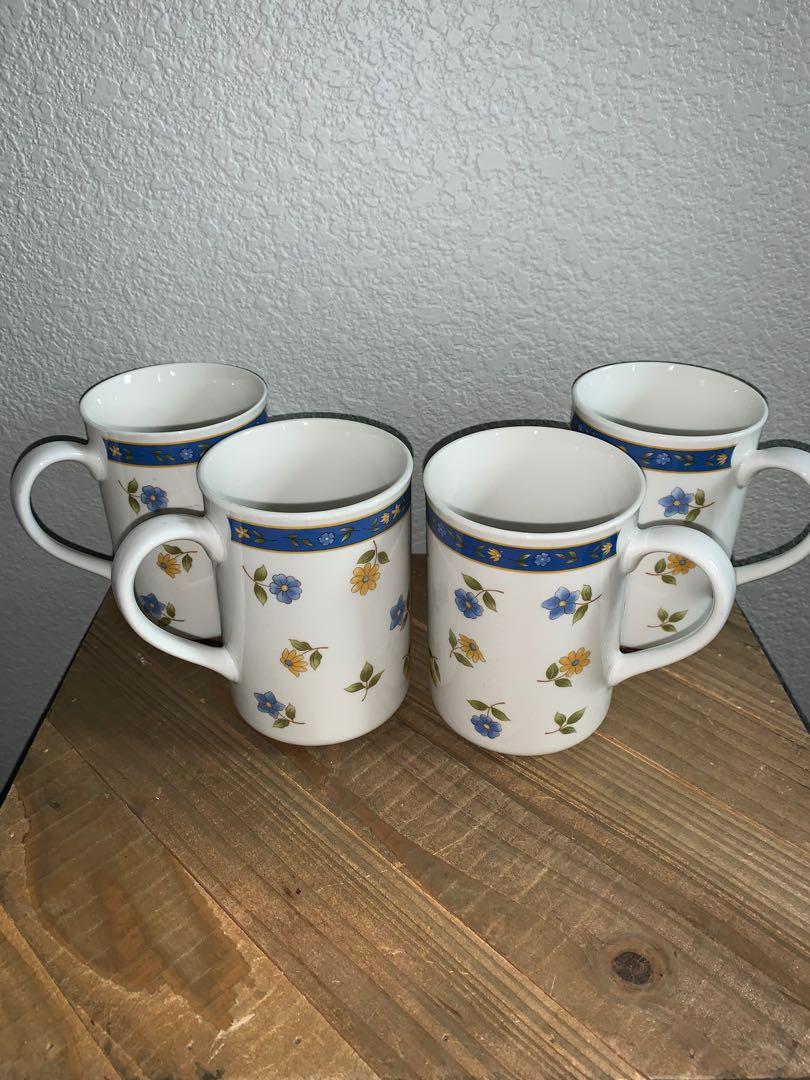 "4 Piece Set of 4-1/4"" Anchor Hocking Savannah Betty St. John Cups Mugs"