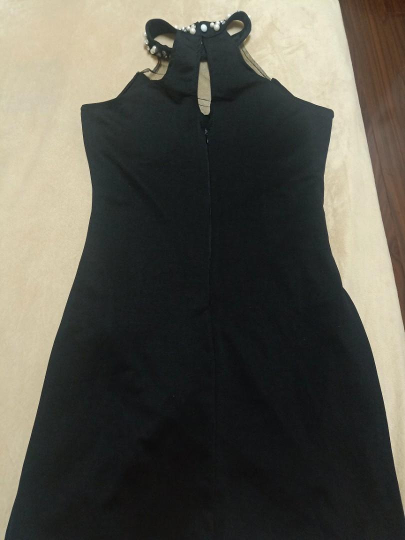 削肩珍珠領禮服洋裝