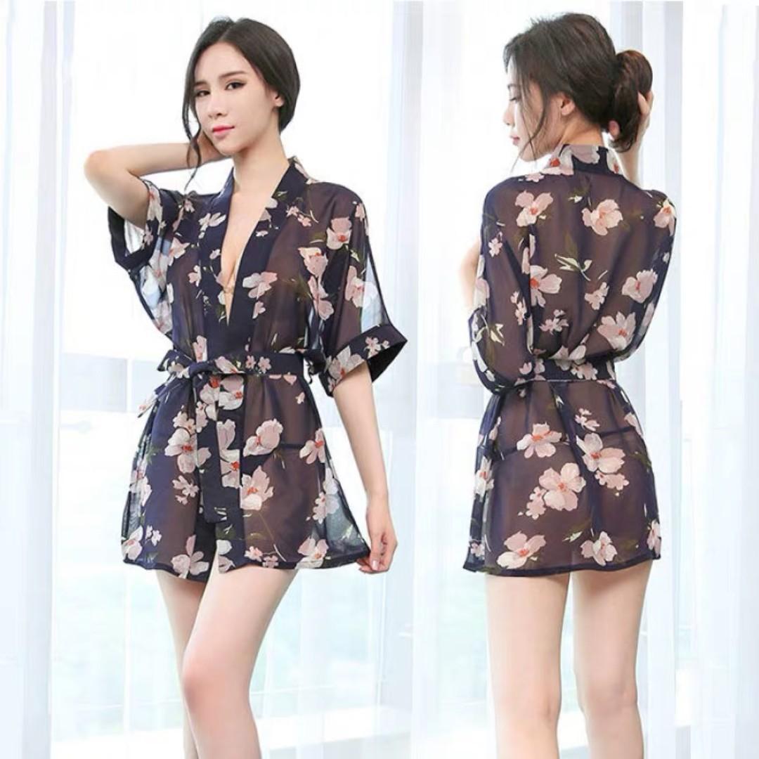 日式 花朵 透視 睡袍 浴袍 Japanese style flower perspective robe bathrobe #405 - Black / White