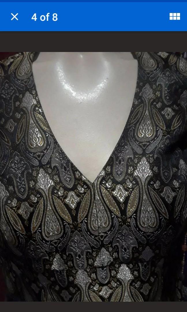 Art noveau Vintage Tapestry print Halter silver gold Psychedelic Boho medium #SwapCA