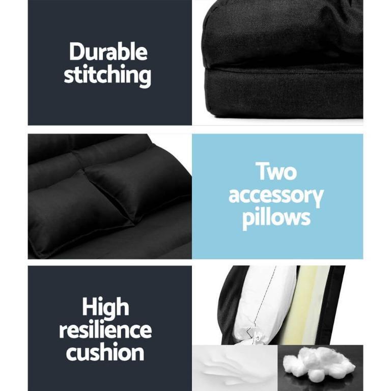 Artiss Floor Sofa Lounge 2 Seater Futon Chair Couch Folding Recliner Metal Black