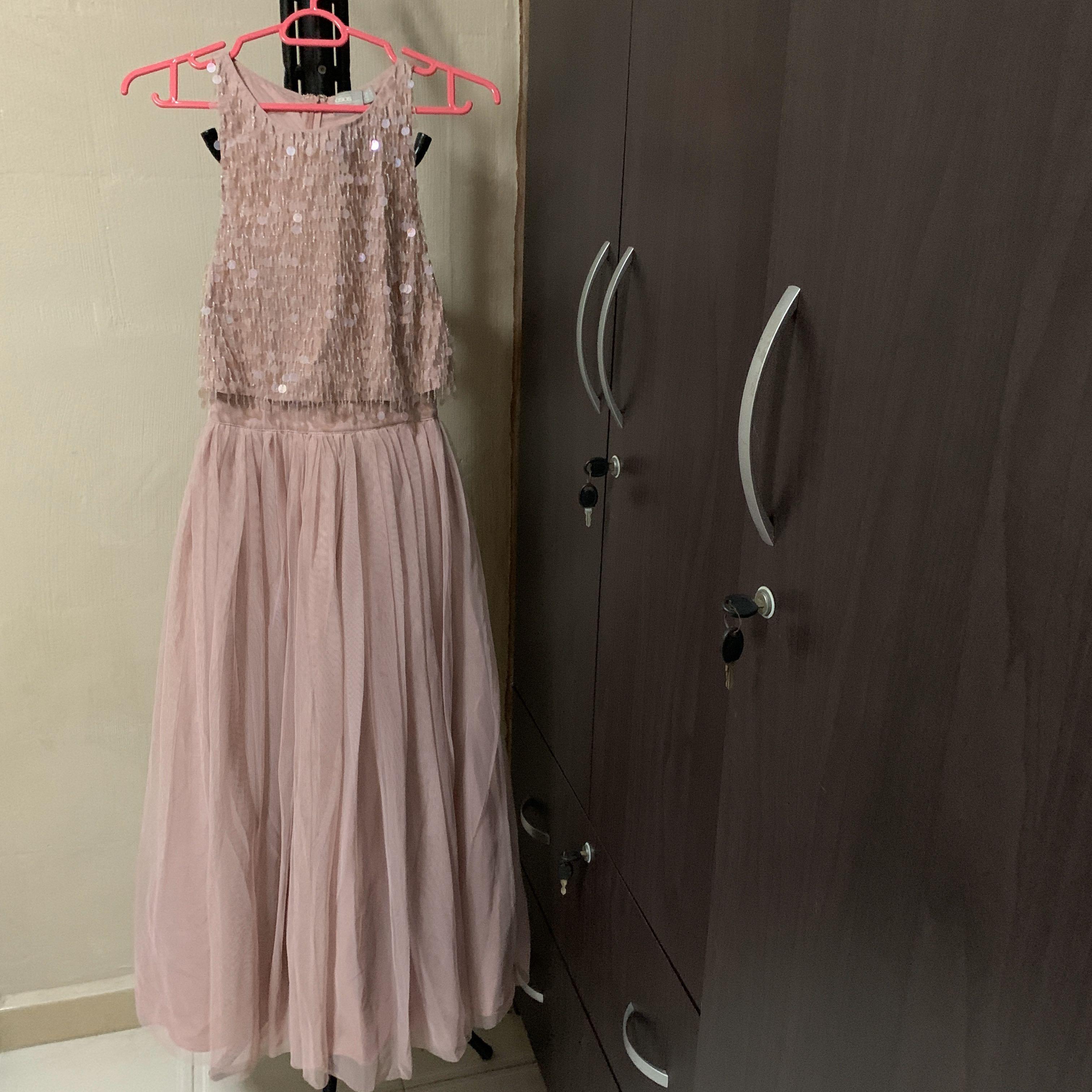 Asos Mauve / Dusty Pink Embellished Dinner Dress