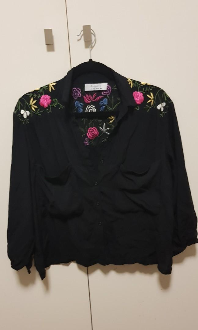 Auguste The Label 6 Black floral embroidered shirt