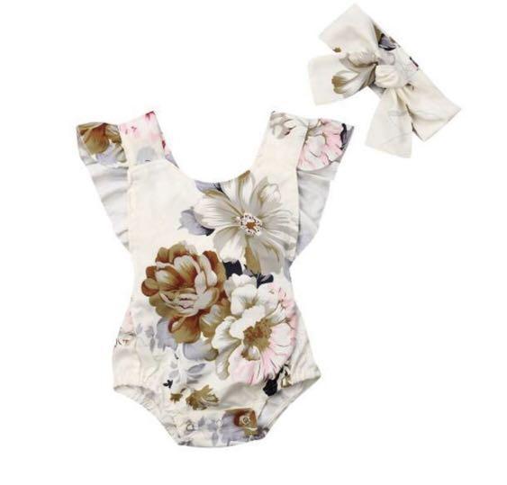 Baby Romper jumpsuits Floral print backless, sleeveless Ruffled Girl Romper + Headband