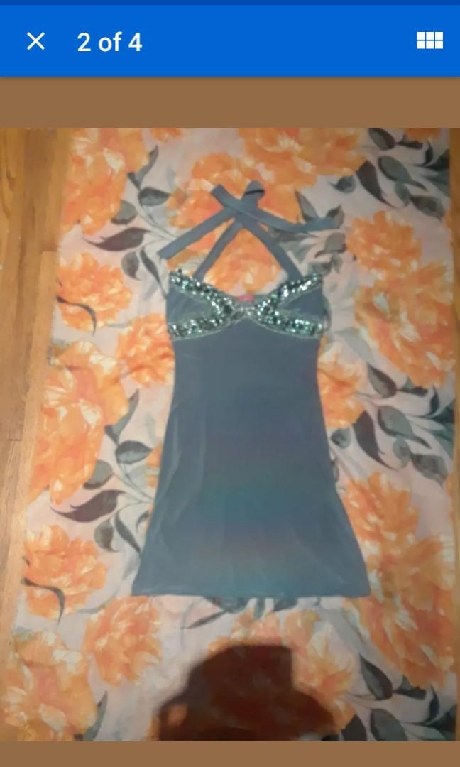 Bedazzled jeweled silver grey vegas cocktail beaded mini halter dress XS  #SwapCA