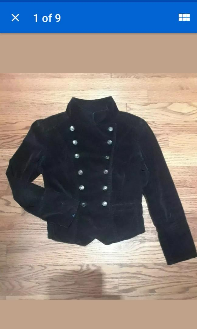 Black corduroy Military Victorian double breasted fitted women's fall jacket goth 8 Small #SwapCA