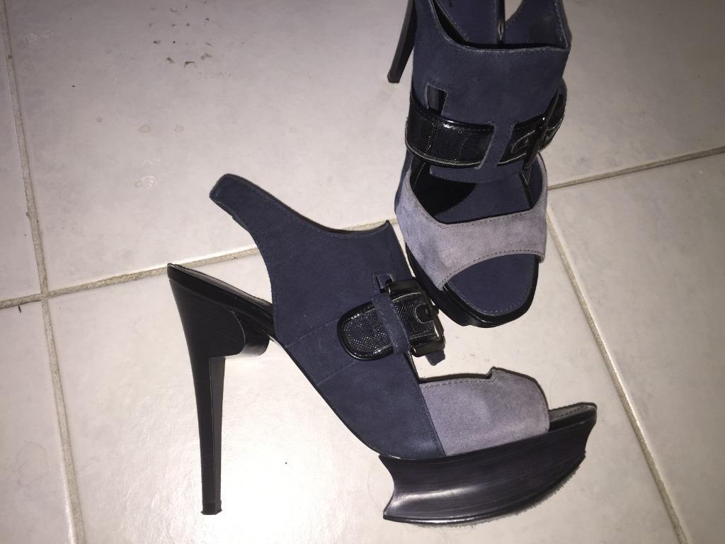 Blue Suede Heels, Size 37, Designer: Pedro (Singapore)