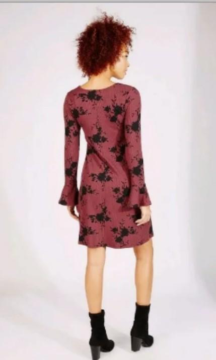 Bluenotes magenta floral print knit stretchy cross chest long trumpet sleeve dress small #SwapCA