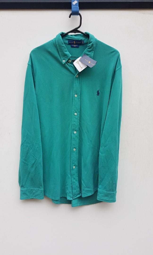 BNWT Ralph Lauren Polo Featherweight Mesh Button Up Green L