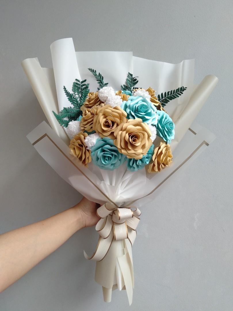Buket Bunga Kertas Desain Kerajinan Tangan Barang Aksesoris Kerajinan Di Carousell