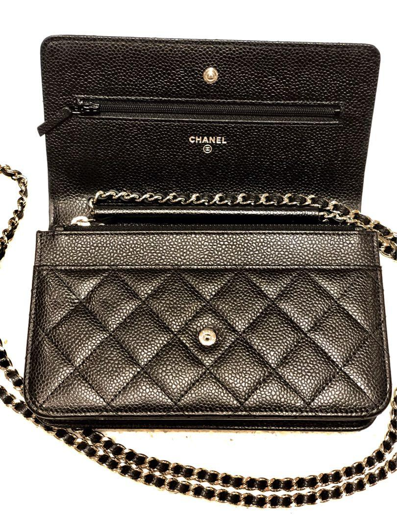 Chanel wallet on chain black caviar silver chain with receipt