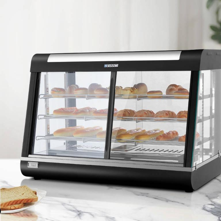 Devanti Commercial Food Warmer Electric Hot Display Pie Showcase Stainless Steel