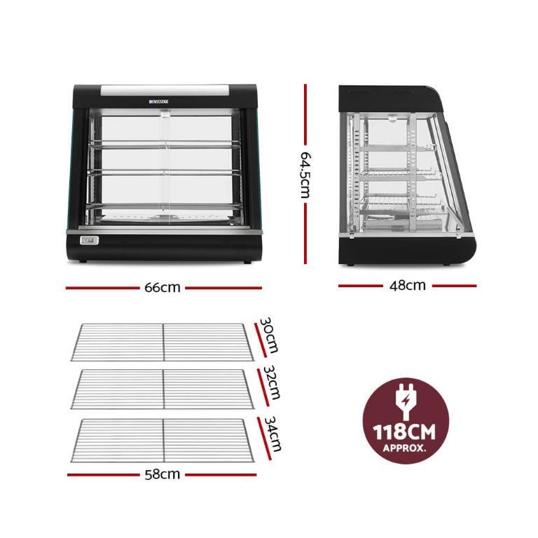 Devanti Commercial Food Warmer Hot Pizza Pie Display Showcase Buffet Cabinet