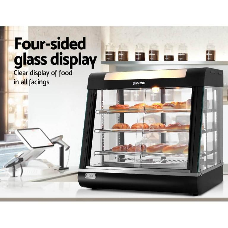 Devanti Commercial Food Warmer Hot Pizza Pie Display Showcase Buffet Cabinet