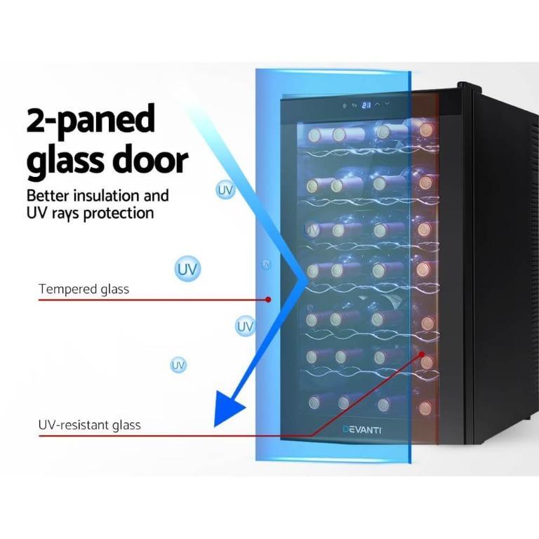 Devanti Wine Cooler 28 Bottles Glass Door Beverage Cooler Thermoelectric Fridge Black