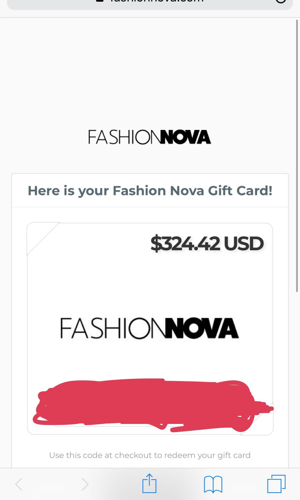 Fashion nova coupon code worth $424 cad or 324 usd