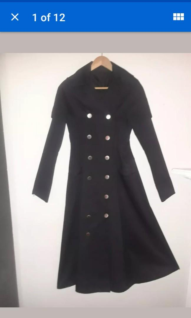 Floor Length tailored gothic trench coat duster vampire witch women's jacket dress flare winter military Small 8 #SwapCA