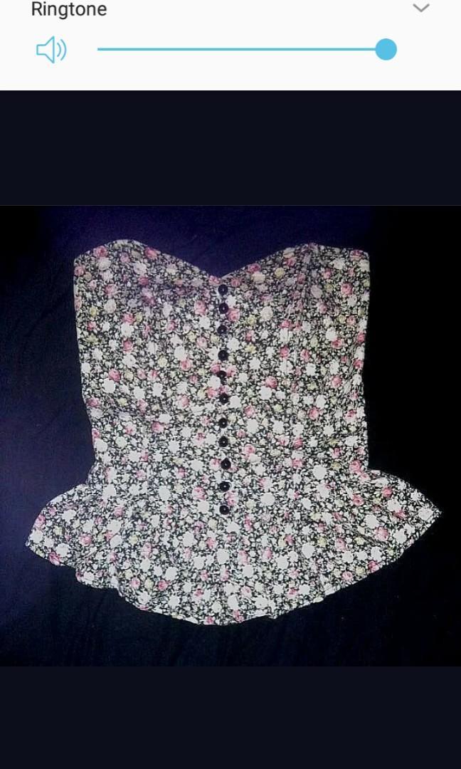 Floral Bodice top strapless peplum ruffle trim boned corset button retro smocked modcloth XS 6