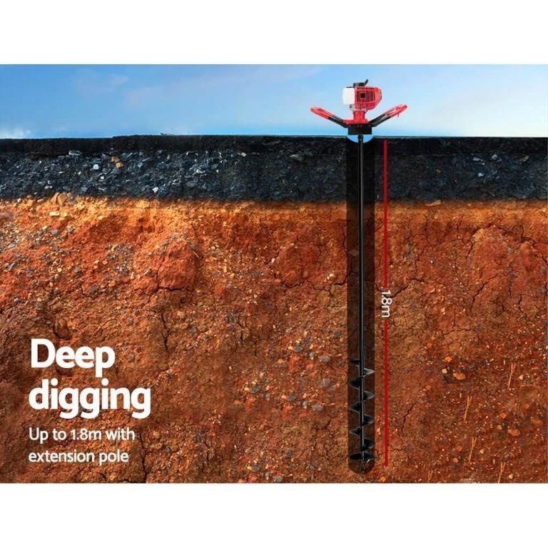 Giantz 62CC Post Hole Digger Petrol Earth Auger Bits Drill Borer Fence