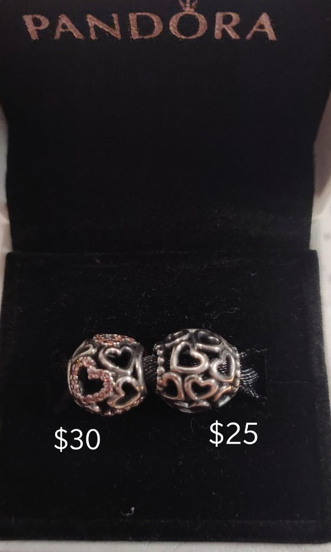 """Pandora * Hearts All Over Charm (one with pink crystals) """""""