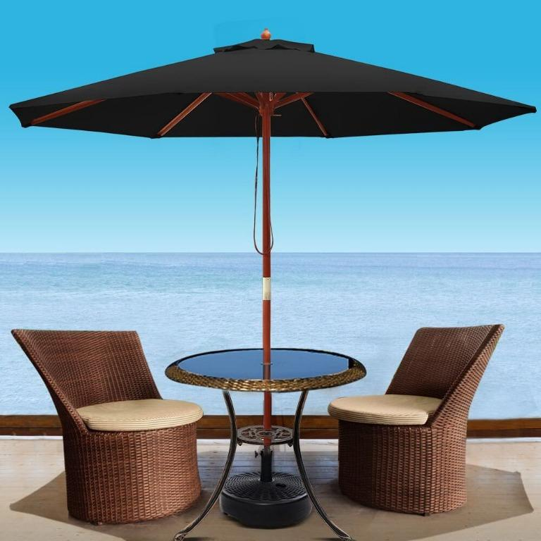Instahut 2.7M Outdoor Pole Umbrella Cantilever Stand Garden Umbrellas Patio Black
