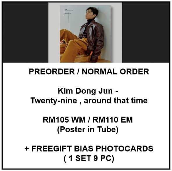 Kim Dong Jun - Twenty-nine , around that time  - PREORDER/NORMAL ORDER/GROUP ORDER/ALBUM GO + FREE GIFT BIAS PHOTOCARDS (1 ALBUM GET 1 SET PC, 1 SET GET 9 PC)