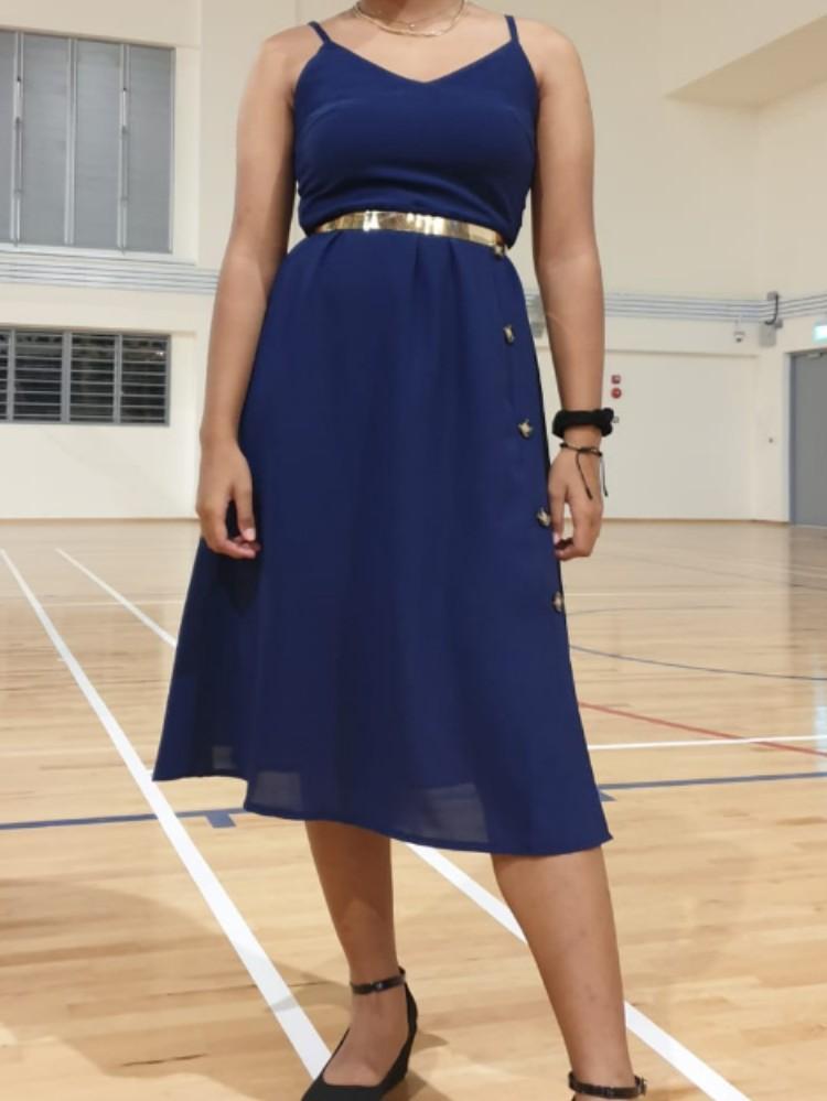 le chic blue midi button down slip dress