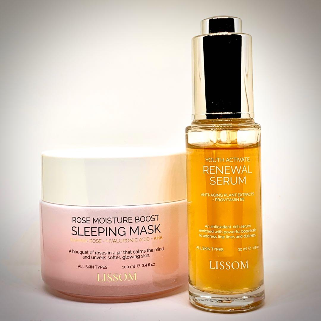 LISSOM ROSE MOISTURE BOOST SLEEPING MASK & YOUTH ACTIVATE RENEWAL SERUM COMBO PACK worth $116.00
