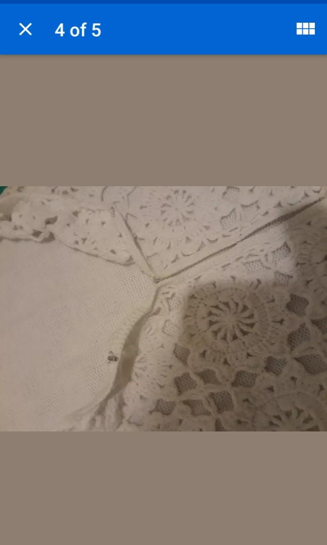 LOT top & skirt set white beige vintage crochet beach outfit boho tassels knit XS / Small #SwapCA