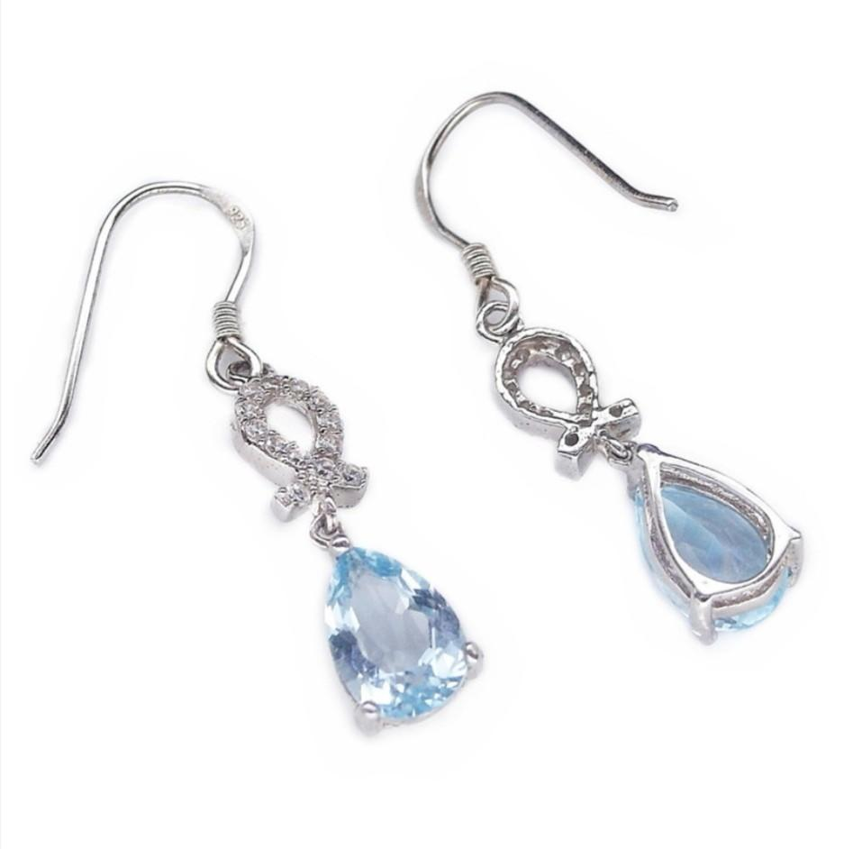 NATURAL EARRINGS PEAR SKY BLUE TOPAZ PLATED WHITE GOLD 925 STERLING PERAK ASLI IMPORT PARTY SUBANG ANTING