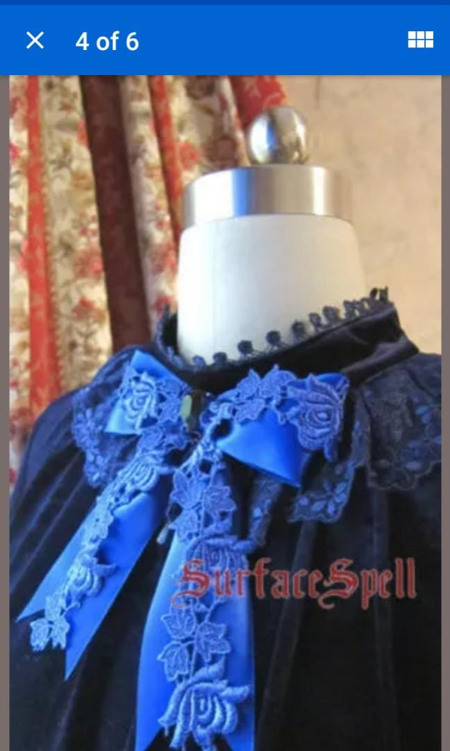 Navy blue velvet blouse elegant collar lace trim lolita aristocrat AND rose hair silk bow accessories SET medium #SwapCA