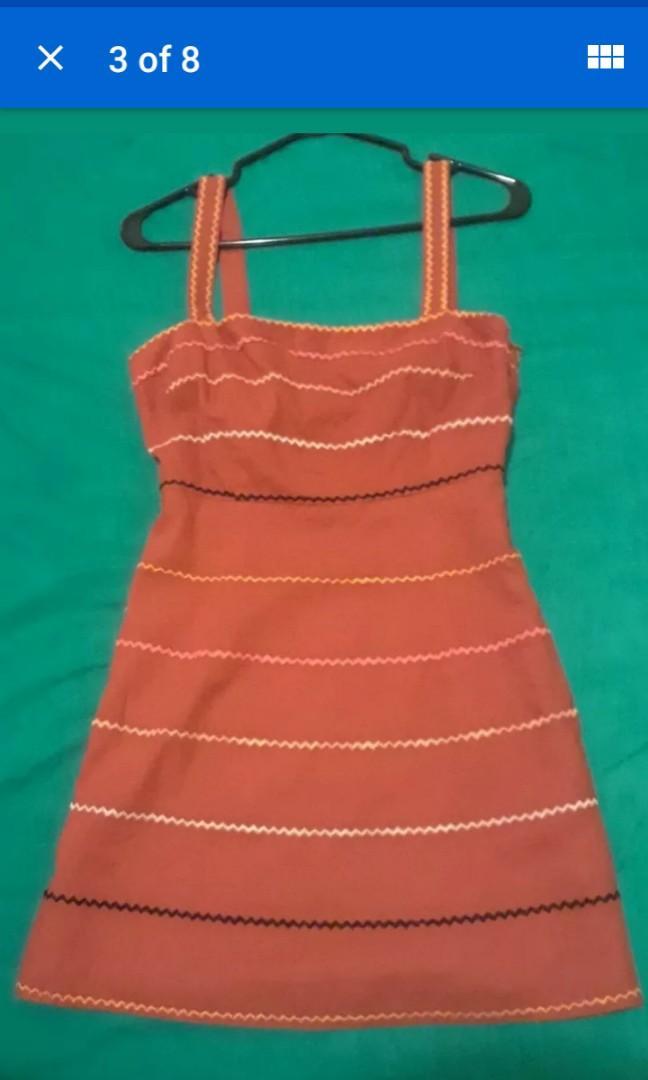 New Forever 21 burnt Orange umbre embroidered boho stripes pumpkin halloween cute fall autumn festive dress Small #SwapCA