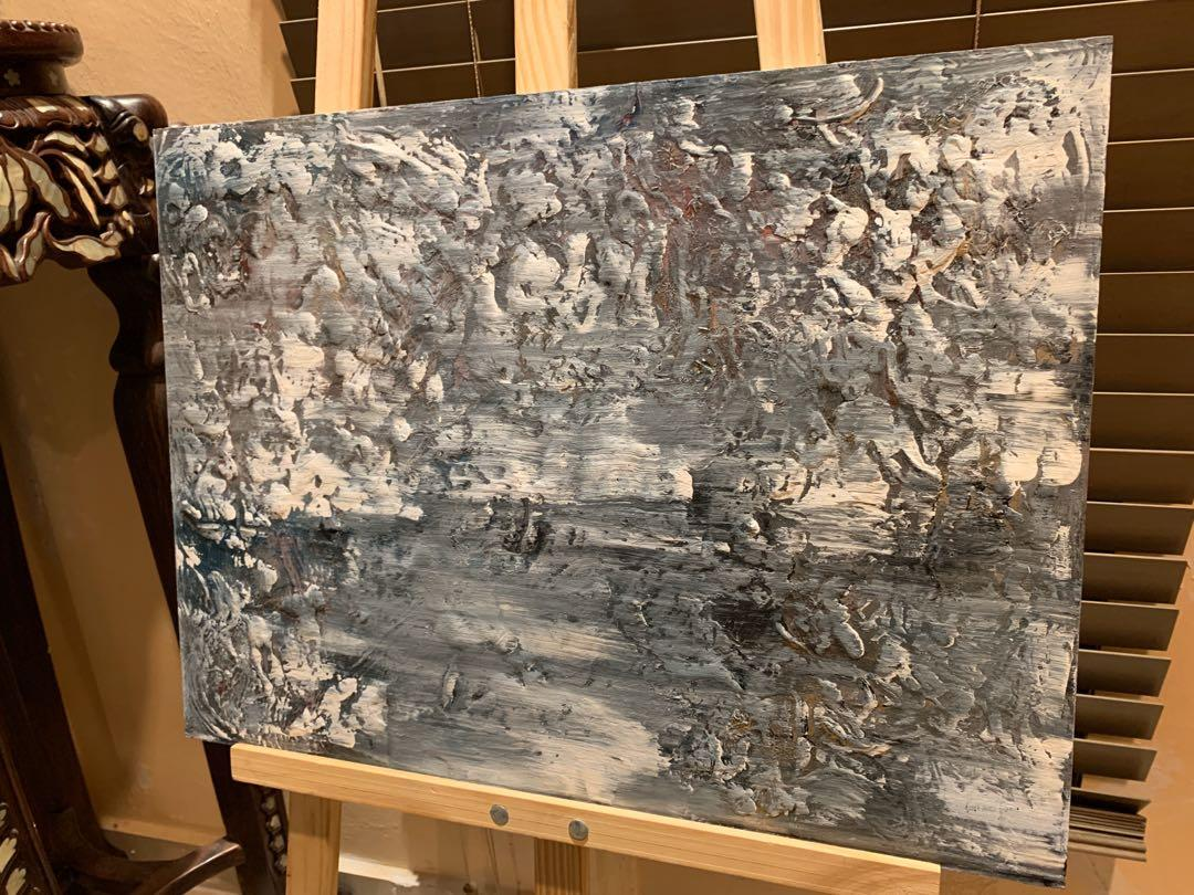 "Original Art Acrylic Painting ""Stone Forest In Winter"""