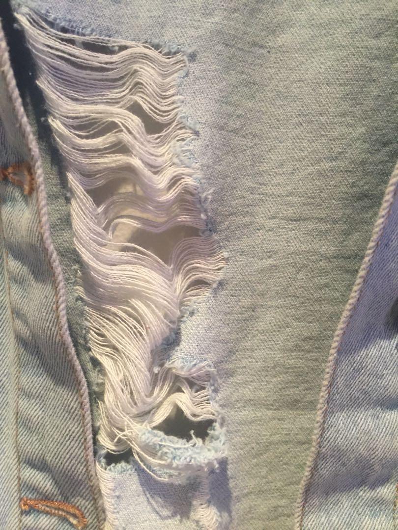Oversized Boyfriend Fit Distressed Light Denim Jacket (XL)