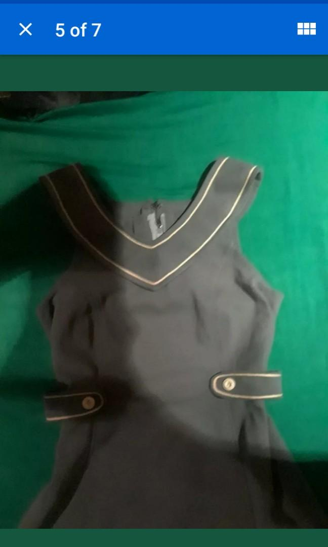 Pastel blue-grey Vintage trim collar pinafore schoolgirl dress Spring mod S M #SwapCA