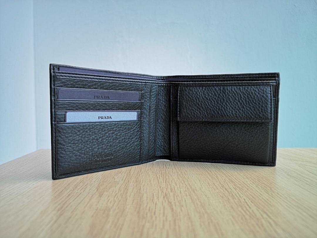Prada Men's Wallet, Vitello Grain (Nero)