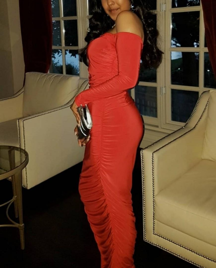 PROM DRESS - Red Ruched Bodycon Prom Dress Off the shoulder