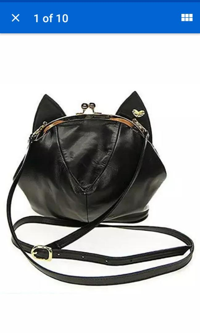 Real black leather Meowingtons gold clasp cat ear expanding pouch purse and Watch SET brand new #SwapCA