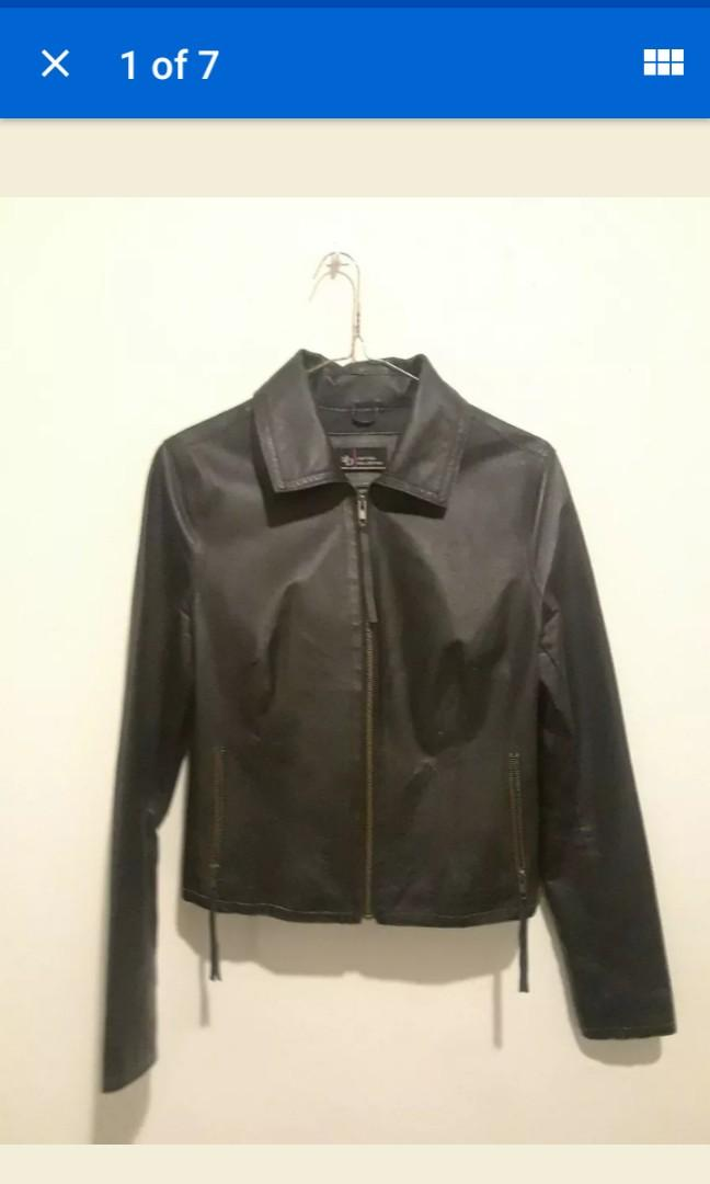 Real vintage Leather Black fitted women's collar jacket autumn fall Medium #SwapCA