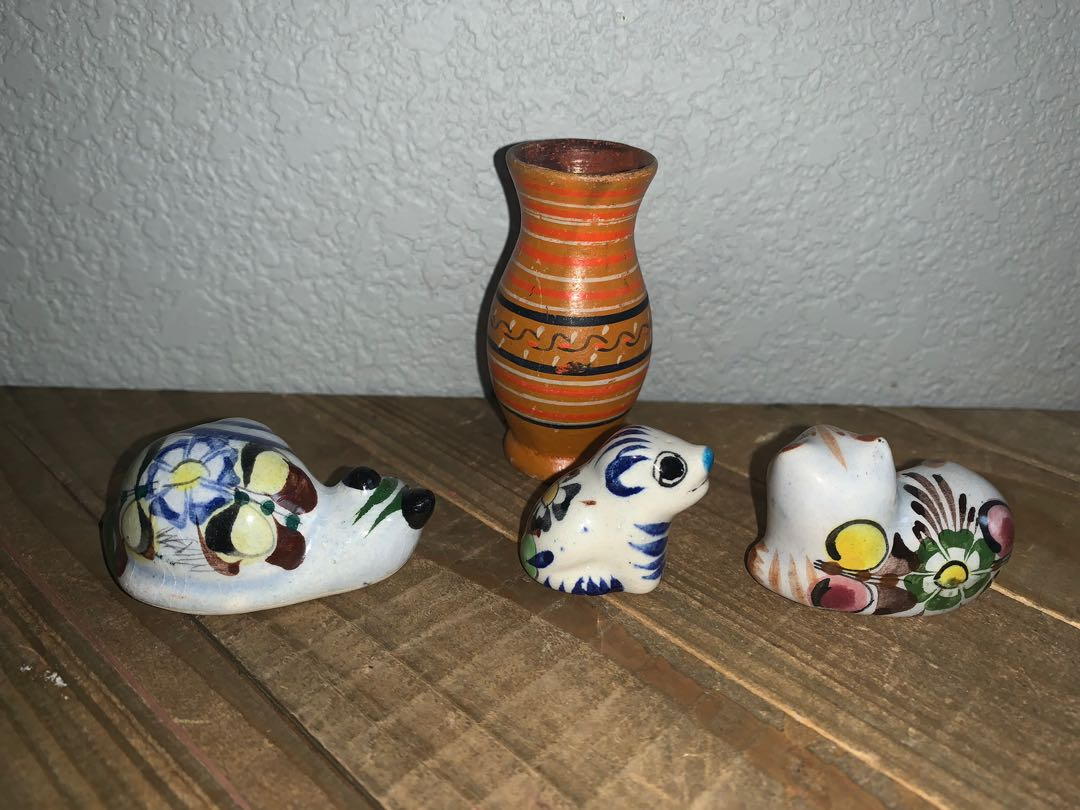 Set of (4) handmade & painted tonala style Mexican clay pottery art animal figurines cat snail vase